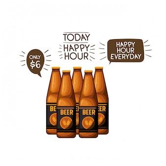 Flesje bier geïsoleerd pictogram