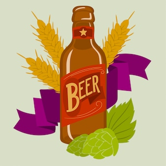 Flesje bier met korenaar