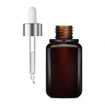 Flesje met oogdruppelaar. bruine glazen set