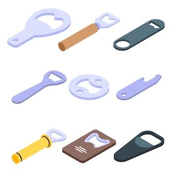 Flesopener iconen set, isometrische stijl