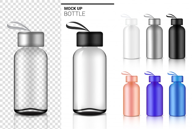 Flessen 3d, realistische transparante plastic shaker water en drank