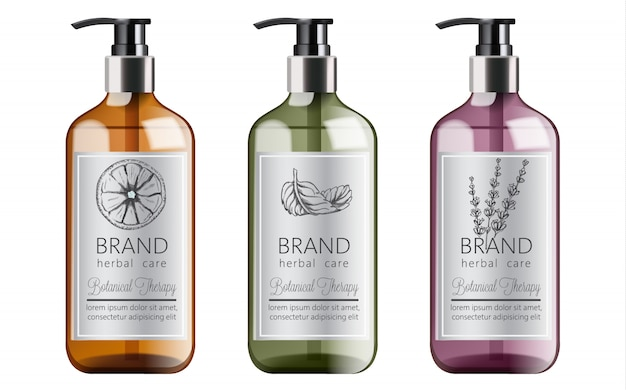 Flessen biologische shampoo met kruidenverzorging. diverse planten en kleuren. munt, sinaasappel en lavendel