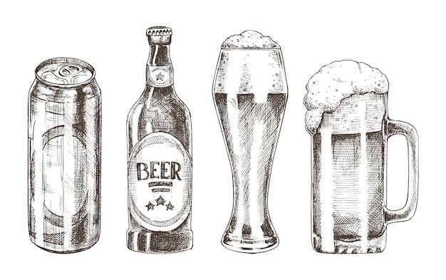 Flessen en bekers set geïsoleerd op wit
