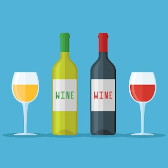 Flessen en glazen rode en witte geïsoleerde wijn. vlakke stijl illustratie.