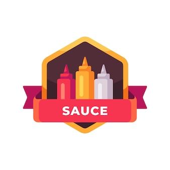Flessen ketchup, mosterd en mayonaise. saus buizen label