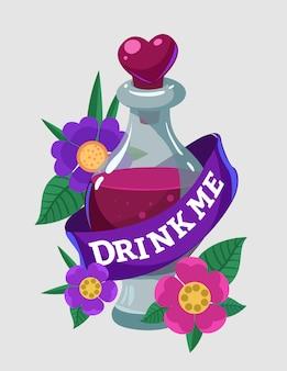 Flessen met liefdesdrankjes. drink mij