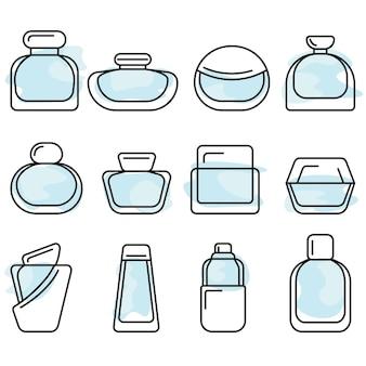 Flessen met parfum vector lineart icon set