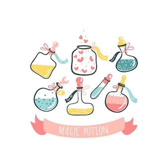 Flessen met toverdrankjes. gif en liefdesdrank. cartoon handgetekende illustratie in schattige scandinavische stijl. pastelkleuren geïsoleerd