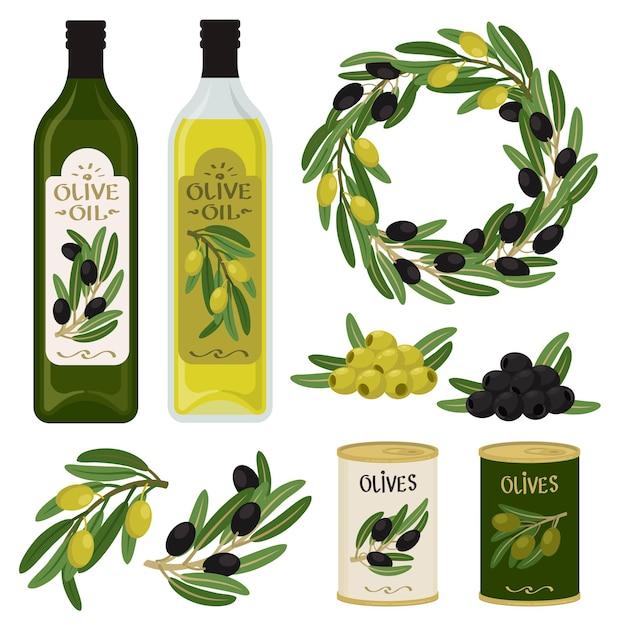 Flessen olijfolie met groene en zwarte olijven