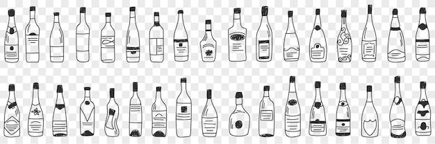 Flessen voor alcohol doodle set illustratie