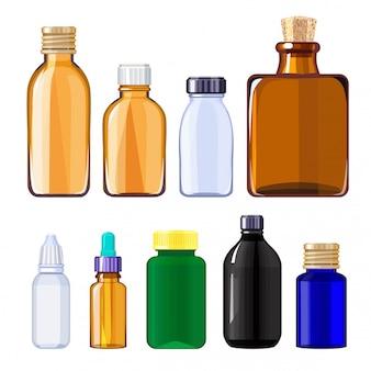 Flessen voor drugs en pillen. medische flessen voor vloeibare medicijnen
