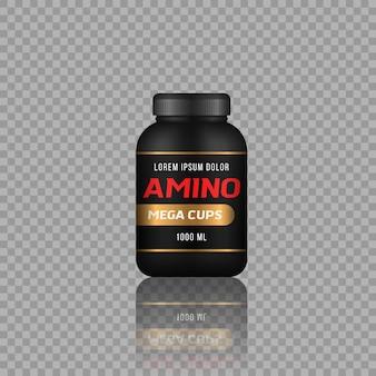 Flessen voor sportvoeding en eiwitrepen met een laag suikergehalte, fitnessvoeding, bodybuilding-symbolen
