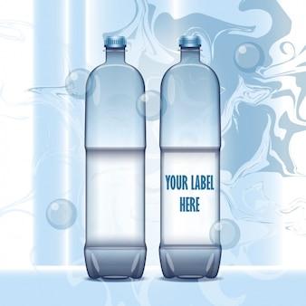Flessen water met bubbels
