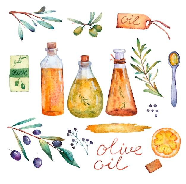 Flessenkruik olie met de zonnebloemolie van de olijvenolijf met rozemarijn op een witte achtergrond