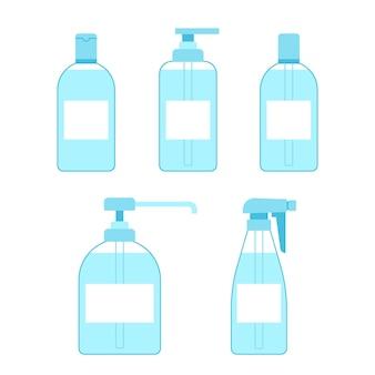 Flessenset handdesinfecterend middel antiseptisch antibacteriële gelspray container met reinigingsmiddel desinfectie