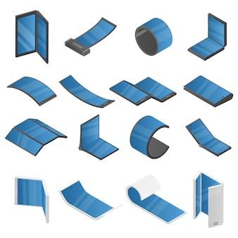 Flexibele display iconen set, isometrische stijl