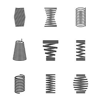 Flexibele stalen spiraal. metaal gebogen draadrollen vormen elastische en verdichte geïsoleerde vormen vector pictogram silhouetten