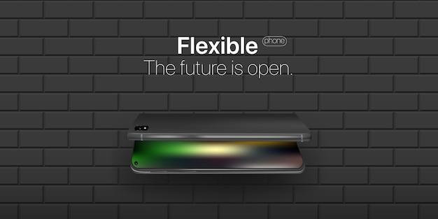 Flexibele telefoon. nieuwe technologie in telefoonindustrieën. flexibele weergave van mobiele telefoon gebogen over muur.