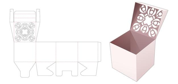 Flip box en gestencilde mandala bovenop gestanste sjabloon