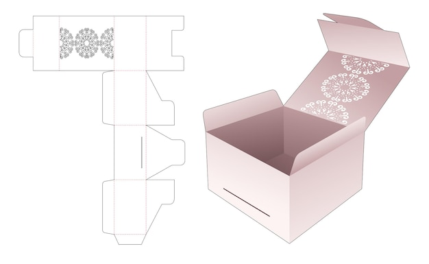 Flip box en vergrendeld punt met gestencilde mandala gestanste sjabloon