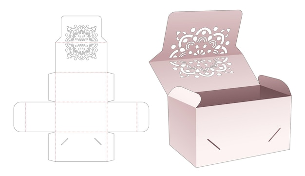Flip box met gesloten punt met mandala-stencil en gestanste flip-sjabloon