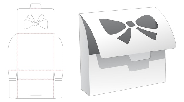 Flip box met gestanst sjabloon in de vorm van een raam Premium Vector