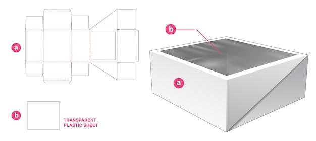 Flip cake box met groot raam gestanst sjabloon