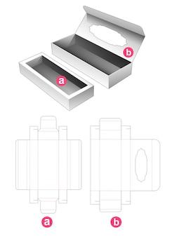 Flip doos met venster en steun gestanst sjabloon invoegen