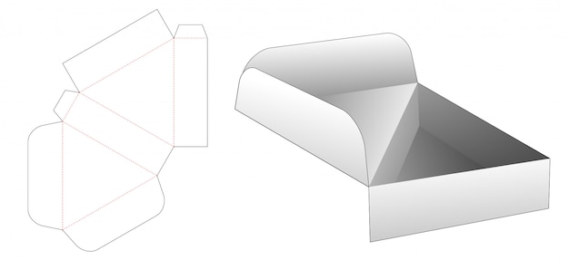 Flip driehoekige doos gestanst sjabloon