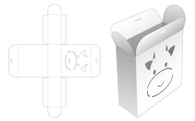 Flip en lock box met gestanste sjabloon voor koe-stencil