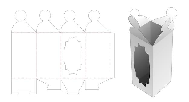 Flip hoge doos met venster gestanst sjabloon