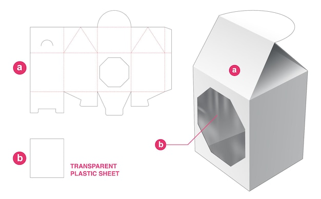 Flip-huisverpakking en achthoekig venster met gestanste sjabloon van transparant plastic vel