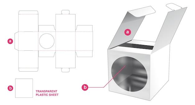 Flip mini doos en rond venster met doorzichtige plastic plaat gestanst sjabloon