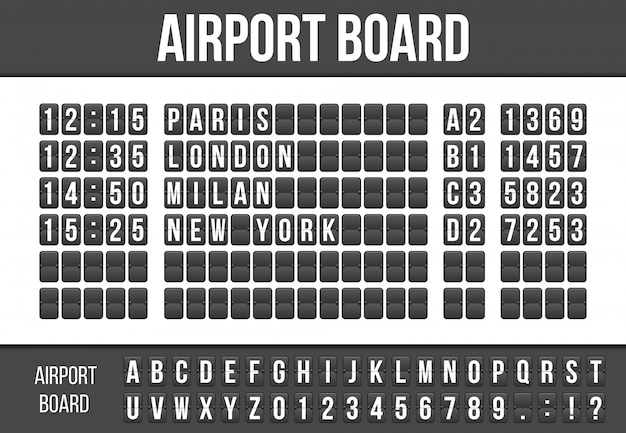 Flip scorebord, aankomst luchthaven bord alfabet.
