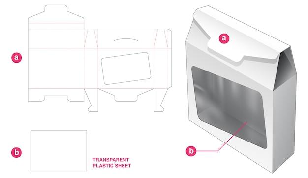 Flip tinnen zak doos en venster met doorzichtige plastic vel gestanste sjabloon