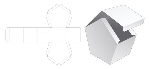 Flip-top huisvormige doos gestanst sjabloon