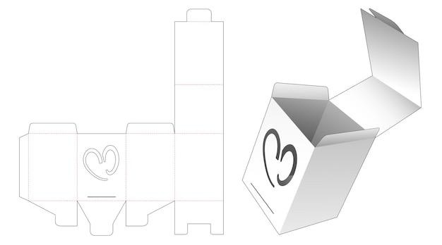 Flip verpakking met verborgen hartvormig venster gestanst sjabloon