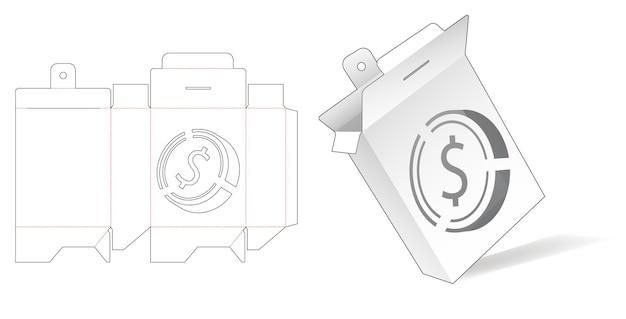 Flip-verpakkingsdoos met gestencilde gestanste dollarmuntsjabloon