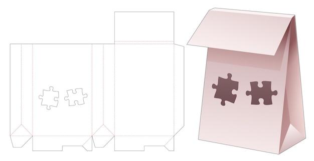 Flip-winkeltas met gestencilde, gestanste sjabloon in de vorm van een puzzel