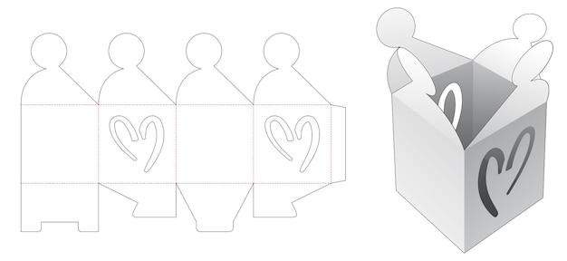 Flips rechthoekige doos met uitgesneden sjabloon voor hartvormige vensters