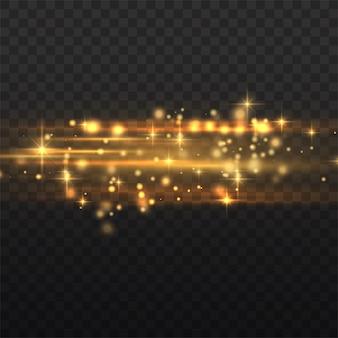 Flits gele horizontale lens flares pack, laserstralen, horizontale lichtstralen, mooie lichte gloed, gloed gele lijn, helder gouden schittering, vectorillustratie