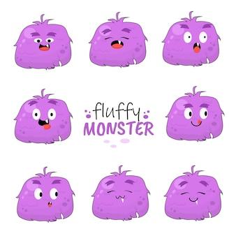 Floppy pluizig monster cake dessert lekker suiker zoet grappig paars illustratie karakter pictogram animatie cartoon mascotte uitdrukking