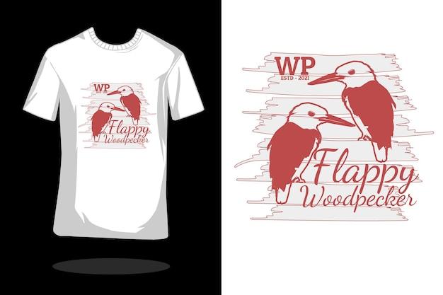 Floppy specht silhouet vintage t-shirt ontwerp
