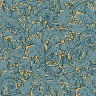 Flora patroon met gravure stijl