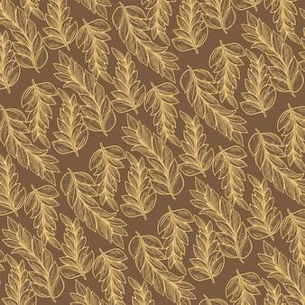 Flora patroon met lijntekeningen