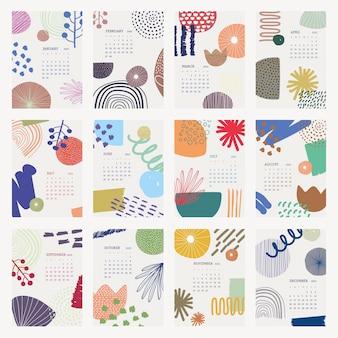 Floral 2022 maandelijkse kalendersjabloon, abstracte memphis vector set