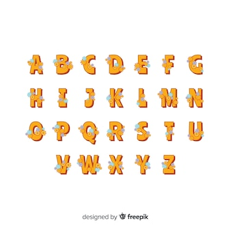 Floral 60's stijl alfabet