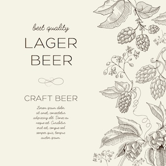 Floral abstract licht met tekst en bier kruiden hop takken in hand getrokken stijl