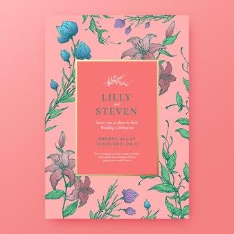 Floral achtergrond bruiloft uitnodiging sjabloon.