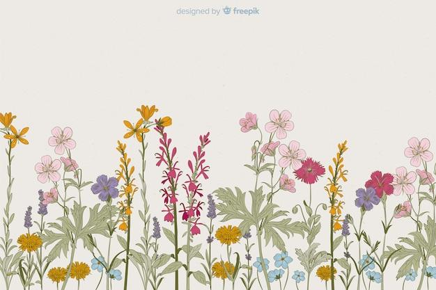 Floral achtergrond hand getrokken stijl